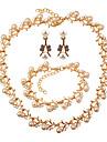 Pentru femei Seturi de bijuterii Ștras Modă Elegant Nuntă Petrecere Imitație de Perle Aliaj Leaf Shape 1 Colier 1 Brățară Σκουλαρίκια