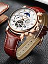 Bărbați ceas mecanic Swiss Calendar / Cronograf / Rezistent la Apă Piele Autentică Bandă Lux / Casual / Modă Negru / Maro