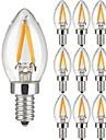10 Piese 2W Bec Filet LED 2 led-uri COB Alb Cald 150lm 3000K AC 220-240V