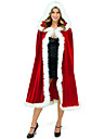 Santa Claus Mrs.Claus Cloak Santa Clothes Women\'s Christmas Festival / Holiday Plush Fabric Red Carnival Costumes Solid Colored
