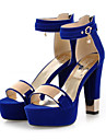 Women\'s Nubuck leather Spring / Summer Comfort / Novelty Sandals Chunky Heel Open Toe Sequin / Buckle Black / Red / Blue / Wedding / Party & Evening / Party & Evening