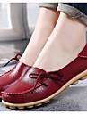 Pentru femei Pantofi Nappa Leather Primăvară Toamnă Confortabili Balerină Mocasini & Balerini Toc Drept Vârf rotund pentru Casual Negru