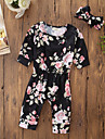 Bebelus Fete O - piesă Buline Floral Bumbac Acrilic Casul/Zilnic Ieșire Toamnă Toate Sezoanele Manșon Lung Simplu Draguț Activ Negru