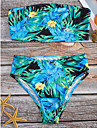 Dame Floral Bustieră Bikini Costume de Baie Bloc de Culoare Boho Albastru piscină