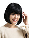 Human Hair Capless Wigs Human Hair kinky Straight Bob Haircut With Bangs Natural Hairline Medium Machine Made Wig Women\'s