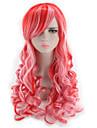 Syntetiska peruker Vågigt Kroppsvågor Naturlig hårlinje Densitet Utan lock Rosa Röd Lolita peruk Cosplay Peruk Syntetiskt hår