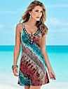Pentru femei Plajă Boho Bumbac Shift Rochie - Imprimeu, Curcubeu În V Lungime Genunchi / Vară