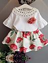 Fete Set Îmbrăcăminte Floral Bumbac Zilnic Vară Manșon Jumate Draguț Roz Îmbujorat