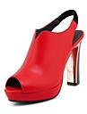 Pentru femei Pantofi Microfibre Primăvară / Vară Balerini Basic Sandale Toc Stilat Alb / Negru / Rosu / Nuntă / Party & Seară