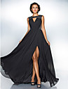 A-Line Jewel Neck Sweep / Brush Train Chiffon / Sequined Prom / Black Tie Gala Dress with Sequin / Ruched by TS Couture® / Beautiful Back