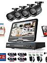 Sannce® 8ch 4st 720p LCD DVR väderbeständigt säkerhetssystem stöds analogt AHD TVi Ip Camera 1tb