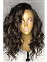 Äkta hår Brasilianskt Lace Wig Naturligt vågigt Bob-frisyr Helnät utan lim Med Babyhår Sidodel Naturlig hårlinje 130% Densitet Svart