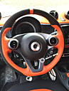 Steering Wheel Covers Genuine Leather 38cm Black / Orange / Red For Smart All Models 2015 / 2016 / 2017