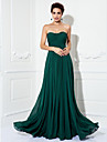 A-Line Strapless Sweep / Brush Train Chiffon Formal Evening / Military Ball Dress with Ruched by TS Couture®