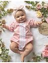 Bebelus Fete O - piesă Mată Bumbac In Fibră de Bambus Acrilic Zilnic Primăvară Manșon scurt Simplu Vintage Roz Îmbujorat