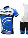 Malciklo Herr Kortärmad Cykeltröja med Haklapp-shorts - Svart Blå/Vit Brittisk Geometrisk Cykel Klädesset, 3D Tablett, Snabb tork,