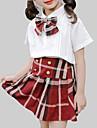 Fete Set Îmbrăcăminte Plisat Celofibră Zilnic Școală Vară Manșon scurt Casual Șic Stradă Alb