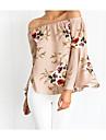 Pentru femei Bateau Bluză Floral În Straturi Poliester