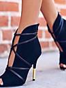 Mulheres Pele Nobuck Primavera / Outono Conforto / Inovador Botas Salto Agulha Peep Toe Botas Curtas / Ankle Preto / Bege / Azul