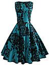 Pentru femei Zilnic / Ieșire Vintage Bumbac / Poliester Zvelt Swing Rochie - Imprimeu, Floral Lungime Genunchi Albastru / Primăvară