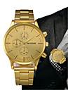 Ανδρικά Ρολόι Φορέματος Χρυσό Χρονογράφος Δημιουργικό Μεγάλο καντράν Αναλογικό Πολυτέλεια Κλασσικό - Μαύρο Χρυσό Ενας χρόνος Διάρκεια Ζωής Μπαταρίας / SSUO LR626