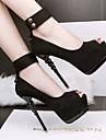 Pentru femei Pantofi Piele nubuc Primăvară / Toamnă Confortabili / Balerini Basic Tocuri Toc Stilat Pantofi vârf deschis Negru / Gri / Roz