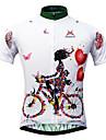 Mysenlan Femme Manches Courtes Maillot de Cyclisme - Blanc Floral / Botanique Velo Maillot, Sechage rapide, Resistant aux ultraviolets,
