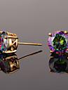 Draguț Zirconiu Cubic Zirconiu Zirconiu Cubic - Vintage Petrecere Birou Auriu Argintiu Circle Shape Geometric Shape cercei Pentru