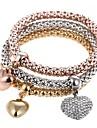 3pcs Women's Charm Bracelet Bead Bracelet Heart Sweet Bracelet Jewelry Rainbow For Party Gift