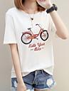 Mulheres Camiseta - Feriado Basico Estampado, Geometrica / Letra Algodao Branco L / Verao