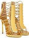 Pentru femei Pantofi Imitație de Piele Vară Gladiator Sandale Toc Stilat Vârf rotund Paiete Auriu / Bleumarin / Party & Seară