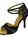 בגדי ריקוד נשים נעליים לטיניות / נעלי סלסה קטיפה סנדלים / עקבים אבזם / עניבת פרפר עקב מותאם מותאם אישית נעלי ריקוד כסף / אדום / כחול / הצגה / מקצועי