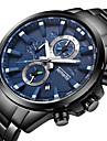 Bărbați Quartz Ceas Sport Calendar Cronograf Mare Dial Ceas Casual Cronometru Oțel inoxidabil Bandă Lux Cool Negru Argint Auriu