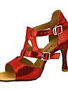 Pentru femei Pantofi Dans Latin / Pantofi Salsa Imitație Piele Sandale / Călcâi Cataramă / Legătură Panglică Toc Personalizat Personalizabili Pantofi de dans Rosu / Albastru / Auriu / Performanță