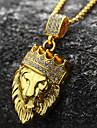 Bărbați Coliere cu Pandativ - 18K Placat cu Aur, Diamante Artificiale Leu, Animal, Κορώνα Personalizat, Rock, Hip-Hop Auriu Coliere 1 buc Pentru Petrecere, Cadou, Zilnic