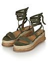 Mulheres Sapatos Couro Sintetico Verao Tira no Tornozelo Sandalias Salto Plataforma Peep Toe Preto / Verde / Camel