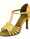 בגדי ריקוד נשים נעליים לטיניות / ריקודים סלוניים סטן סנדלים / עקבים אבזם מותאם אישית נעלי ריקוד צהוב / פוקסיה / סגול