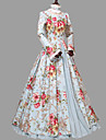 Cosplay Lolita Victoriansk Kostume Dame Kjoler Party-kostyme Blaa / Svart Vintage Cosplay Ren bomull Langermet Juliet Ballkjole