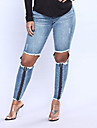 Dam Skinny Jeans Byxor - Enfärgad Hög midja