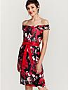 Pentru femei Club Subțire Bodycon Rochie - Imprimeu, Floral De Pe Umăr Lungime Genunchi / Primăvară / Vară / Modele florale