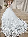 Haine Bal Fără Bretele Trenă Catedrală Tulle Made-To-Measure rochii de mireasa cu Detalii Cristal / Flori de LAN TING BRIDE®