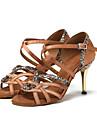 בגדי ריקוד נשים נעליים לטיניות סטן נעלי ספורט נצנצים עקב קובני נעלי ריקוד שחור / חום כהה