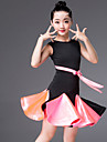 Latein-Tanz Kleider Maedchen Leistung Elasthan Mit Baendern und Schleifen / Horizontal geruescht AErmellos Kleid