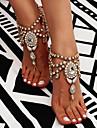 Franjuri Sandale Desculț - Floare Boem, Modă, Boho Auriu / Argintiu Pentru Zilnic / Casual / Pentru femei / Ștras