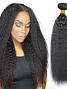3 Bundles with Closure Indian Hair Yaki Straight 8A Human Hair Natural Color Hair Weaves / Hair Bulk Extension Bundle Hair 8-28 inch Natural Color Human Hair Weaves Extention Best Quality New Arrival