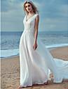 Corte en A Escote en Pico Larga Raso / Encaje Vestidos de novia hechos a medida con Encaje por LAN TING BRIDE®
