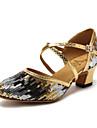 בגדי ריקוד נשים נעליים מודרניות סינטטיים נעלי ספורט פרח סאטן / שחבור עקב עבה נעלי ריקוד זהב / כחול / אימון / EU42