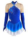 Robe de Patinage Artistique Femme Fille Patinage Robes Bleu Fleur Teinture Halo Spandex Competition Tenue de Patinage Respirable Fait a la main Fleur Mode Manches Longues Patinage sur glace Patinage