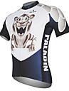 ILPALADINO Homme Manches Courtes Maillot de Cyclisme - Noir / Blanc Animal Tiger Cyclisme Maillot Hauts / Top, Respirable Sechage rapide Resistant aux ultraviolets 100 % Polyester