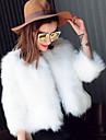 Γυναικεία Αργίες Κοντό Γούνινο παλτό, Μονόχρωμο Στρογγυλή Λαιμόκοψη Μακρυμάνικο Ψεύτικη Γούνα Λευκό / Μαύρο XL / XXL / XXXL